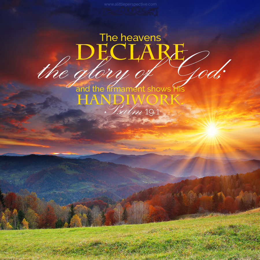 The heavens declare the glory of God; and the firmament shows His handiwork.
