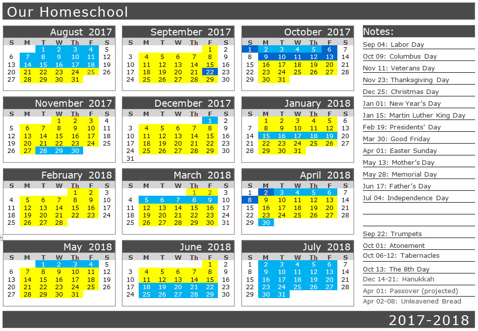 School calendar with biblical holidays | biblicalhomeschooling.org