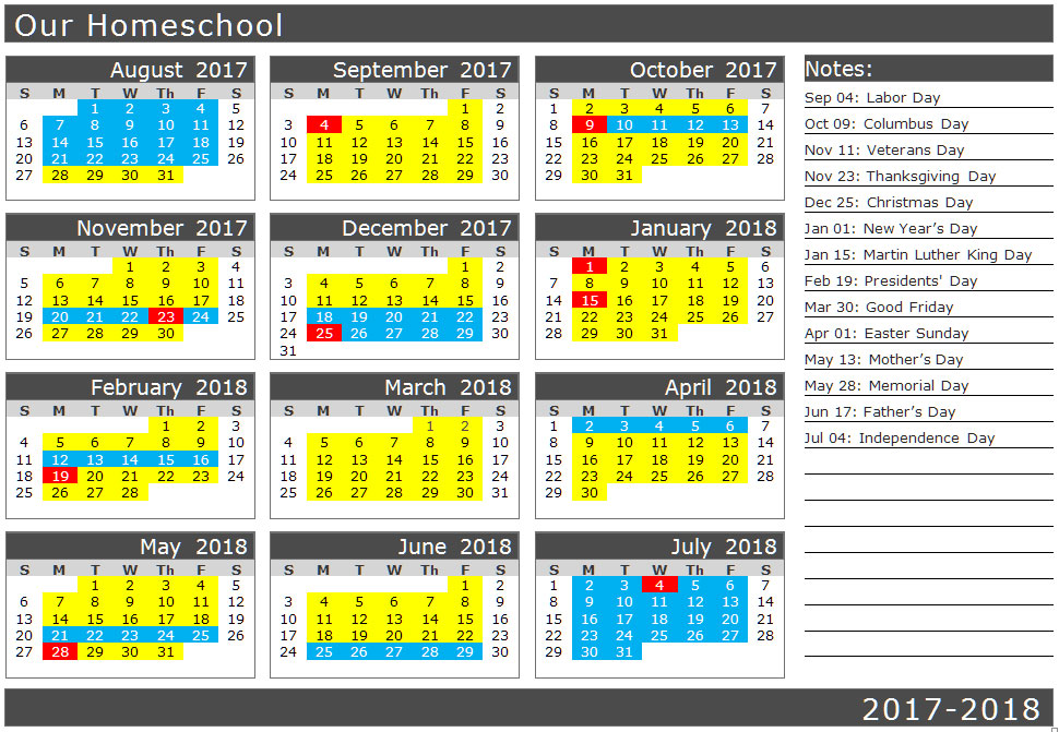 School calendar with traditional holidays | biblicalhomeschooling.org