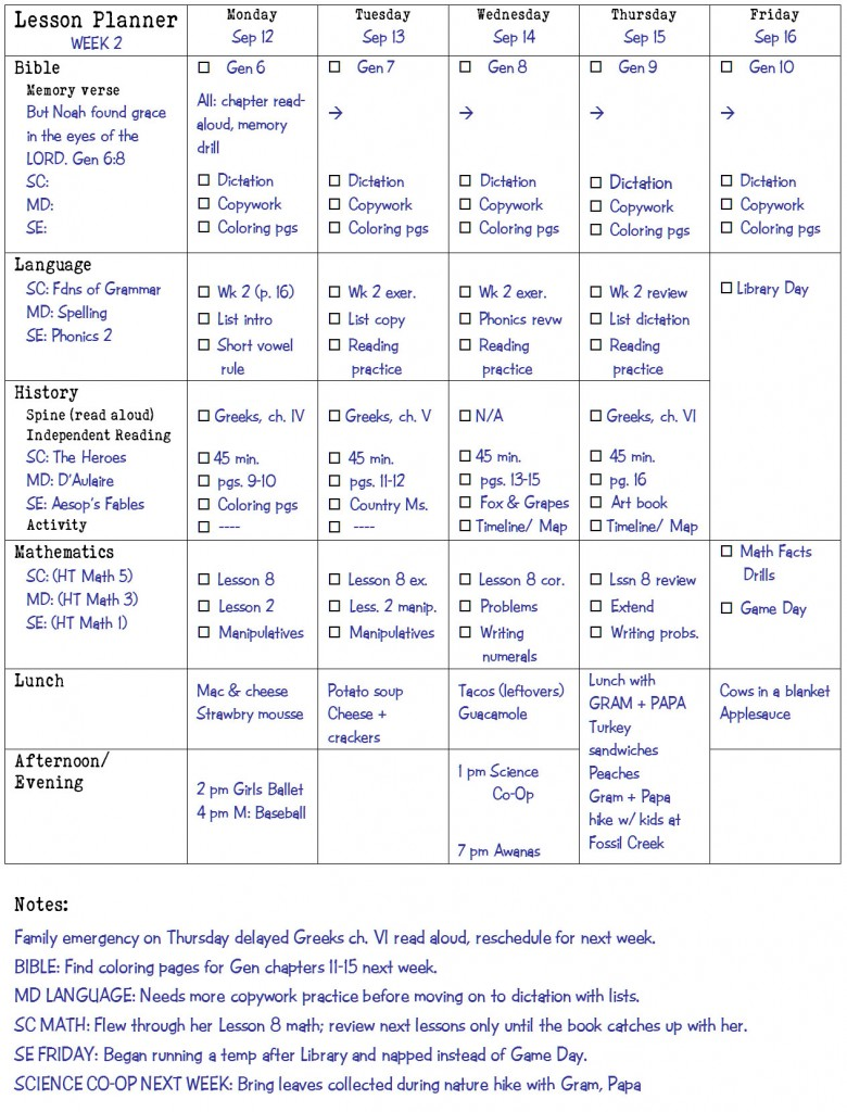 Lesson Planner Example | biblicalhomeschooling.org